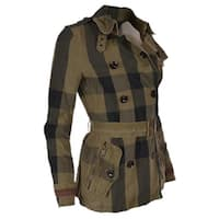 Burberry Brit Burnstead Cotton Linen Nova Check Trench Coat Jacket