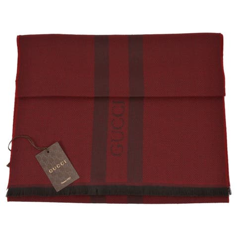 """Gucci 544628 Wool Ombre Burgundy Embroidered Logo Striped Scarf Muffler - 75"""" x 15.5"""""""