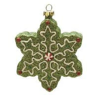 "4"" Merry & Bright Green  White and Red Glitter Shatterproof Snowflake Christmas Ornament"