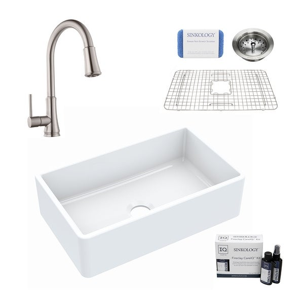 Turner All-in-One Farmhouse Apron Front Fireclay 30 in. Single Bowl Kitchen Sink with Pfister Pfirst Faucet and Drain. Opens flyout.