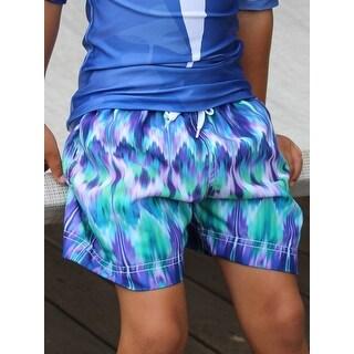 Azul Boys Blue Mood Diffuse Print Drawstring Waist Swim Shorts