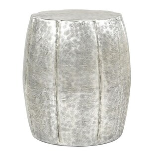 "22"" Contemporary Silver Hammer Finished Aluminum Drum Accent Table"