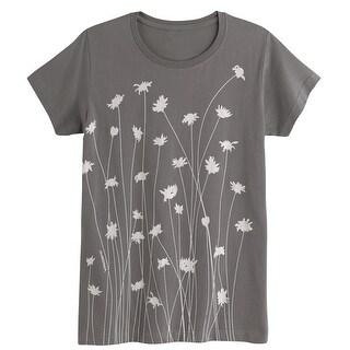 Women's Scattered Straw Flowers Ladies T-Shirt - Short Sleeve