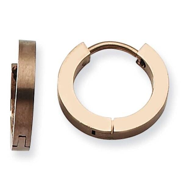 Chisel Stainless Steel Coffee Hinged Hoop Earrings