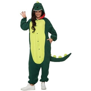 Adult Green Dinosaur Jumpsuit Halloween Costume - standard (40-42 chest)