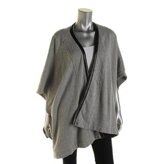 Three Dots Womens Leather Trim Kimono Sleeves Cardigan Sweater