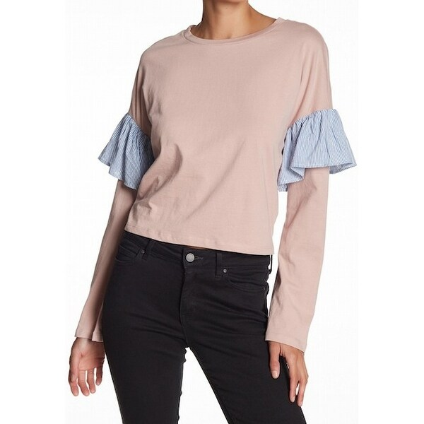 23a48f91fcb Shop Abound Womens Pullover Stripe Ruffle Trim Tee T-Shirt - Free Shipping  On Orders Over  45 - Overstock.com - 21444404
