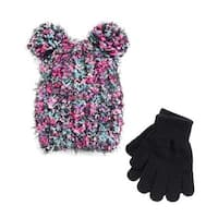 SO Girls 2PC Winter Set Spacedye Pom Pom Hat Gloves