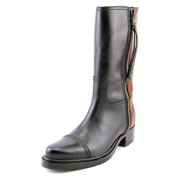 Coach Short Western Women Pointed Toe Leather Black Mid Calf Boot