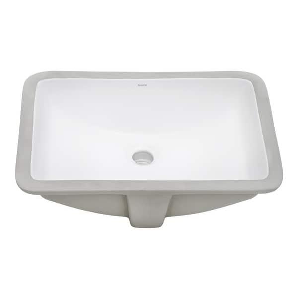 Ruvati 21 X 14 Inch Undermount Bathroom Vanity Sink White Rectangular Porcelain Ceramic With Overflow Rvb0721 Overstock 32324944