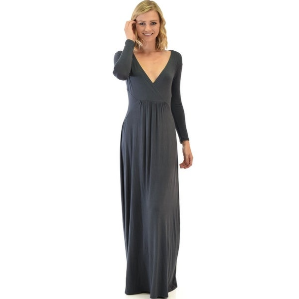 4bfe16f77c Shop sweetest kiss long sleeve charcoal maxi dress-Charcoal-Small - Free  Shipping Today - Overstock - 23109477