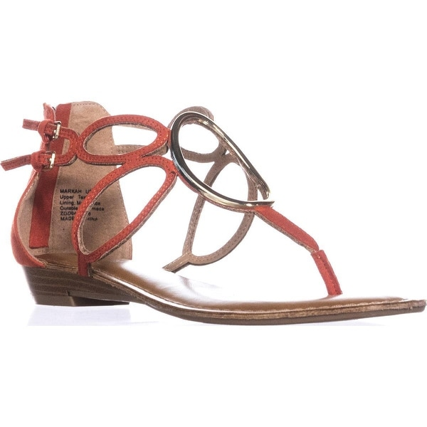 Zigi Soho Markah Strappy Metal Embellished Flat Sandals, Coral - 8.5 us