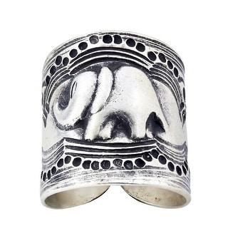 Handmade Forest Elephant Karen Hill Tribe Wrap Around Silver Ring (Thailand)
