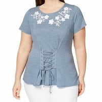 INC Blue White Women's Size 3X Plus Embroidered Lace Up Blouse