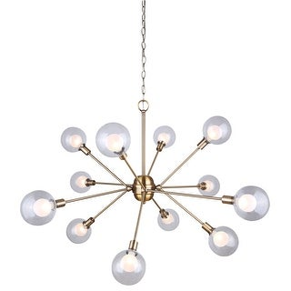 Canarm Estella 12 Light Chain Chandelier with Clear and Frosted Double Glass - Gold Finish