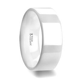 LUCENT Flat Polish Finished White Ceramic Wedding Ring