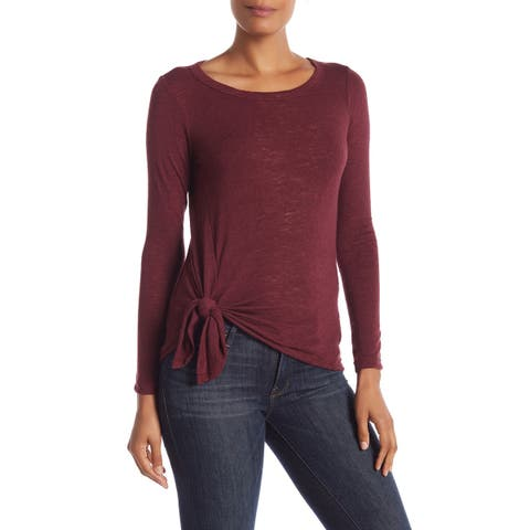 Bobeau Women's Medium Side Twist Scoop Neck Knit Top