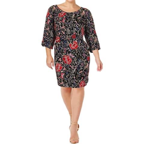 Junarose Womens Plus Olga Mini Dress 3/4 Sleeves Printed