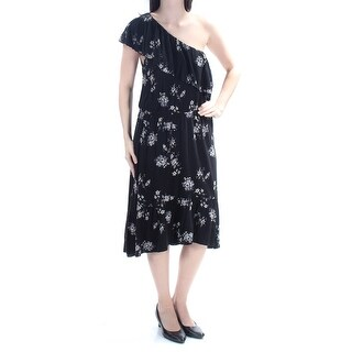 LUCKY BRAND $90 Womens New 1319 Black Floral Short Sleeve Sheath Dress L B+B