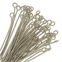 Eye Pins, 1.25 Inches Long 22 Gauge Thick, 50 Pieces, Silver Tone Nickel Plated