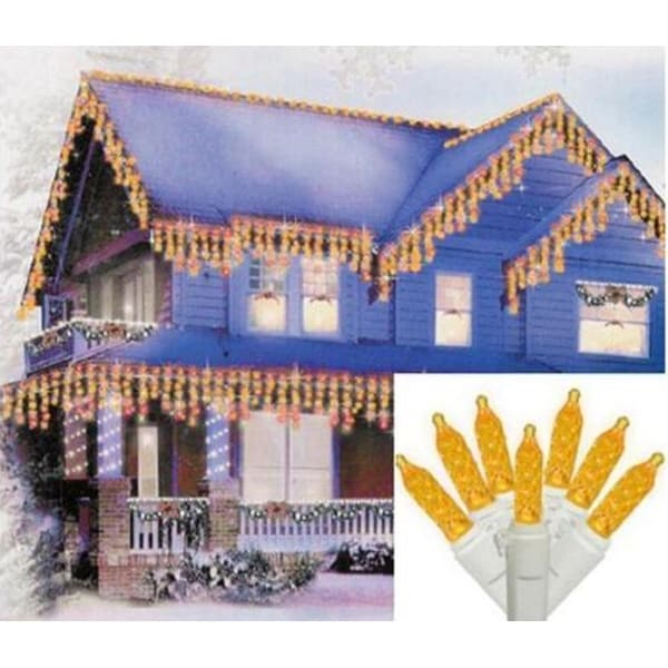 Set of 70 Yellow Gold LED M5 Icicle Christmas Lights - White Wire