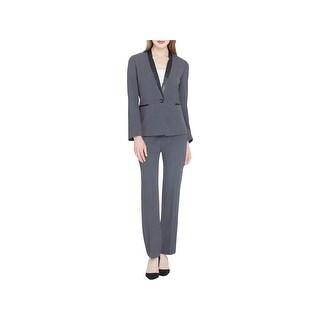Tahari ASL Womens Petites Pant Suit Contrast Trim Notch Collar - 8P