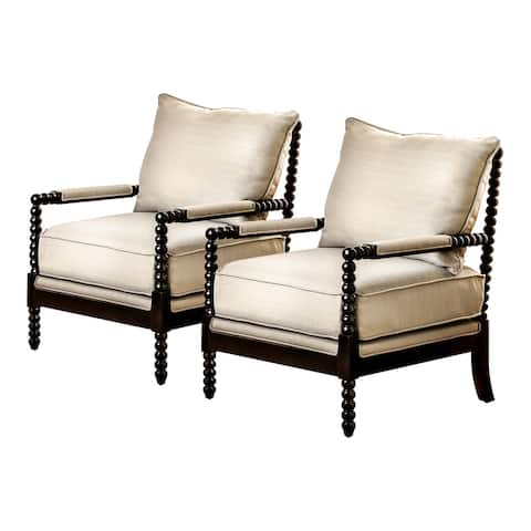 Furniture of America Digg Beige Fabric Accent Chair (Set of 2)