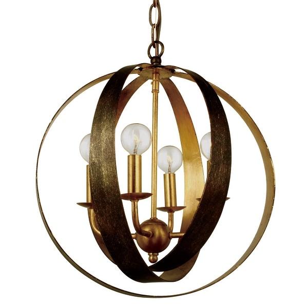 Luna 4 Light Bronze & Gold Sphere Mini Chandelier - 16'' W x 18'' H. Opens flyout.
