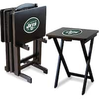 Official Licensed New York Jets NFL Football TV Snack Trays with Storage Racks (Set of 4)