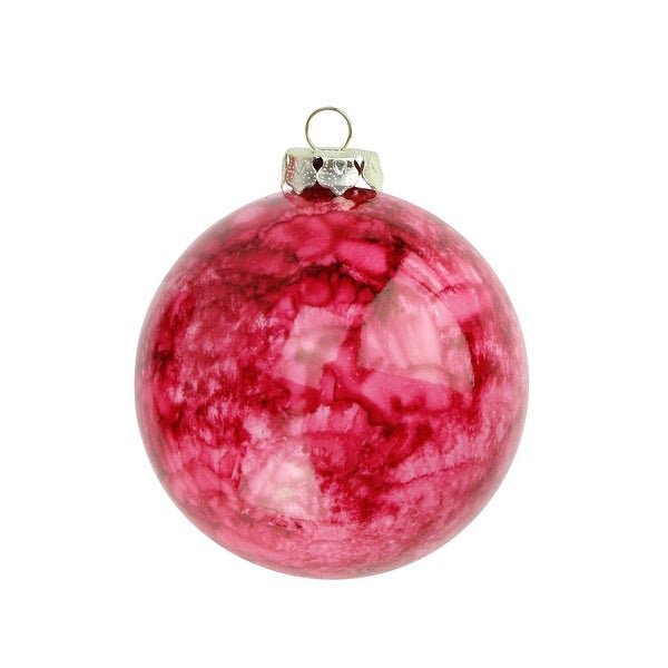 "4ct Marbled Crimson Red Shatterproof Christmas Ball Ornaments 3.25"" (80mm)"