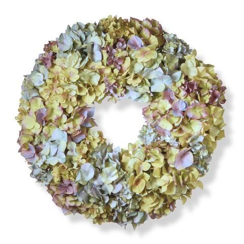 Mixed Hydrangea Artificial Floral Wreath, Multicolor 18-Inch