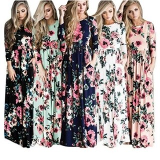 Women's Print Long Sleeve Casual Stretch Maxi Long Dress