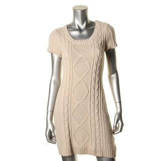 Pink Rose Womens Juniors Sweaterdress Cable Knit Short Sleeves