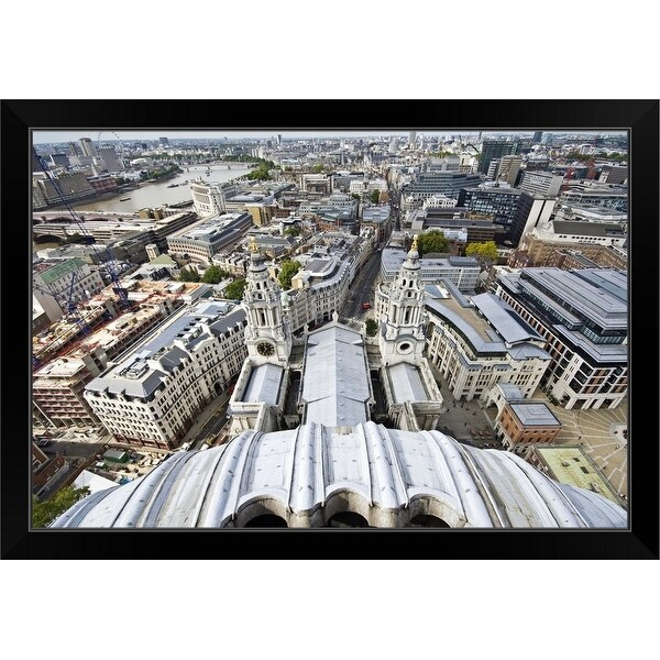 """""""View to the west over London from the top of St Paul's Cathedral, England"""" Black Framed Print"""