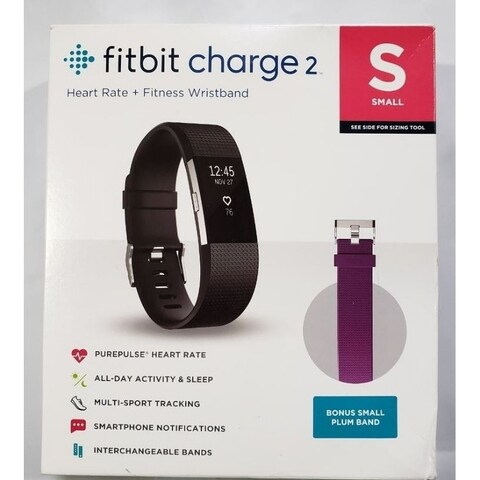 Fitbit Charge 2 Heart Rate & Activity Tracker Black Small w/ Bonus Plum Band -Certified Refurbished