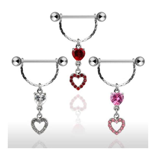 Surgical Steel Nipple Shield with CZ Heart and Heart Dangle (Sold Individually)