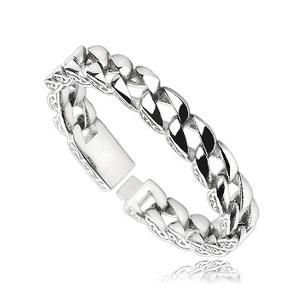 Stainless Steel Chain Bracelet with Wave Design on the Side (12.5 mm) - 8.75 in