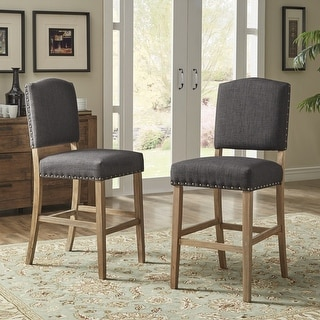 Link to Benchwright Premium Nailhead Upholstered Bar Height Chairs (Set of 2) by iNSPIRE Q Artisan Similar Items in Dining Room & Bar Furniture