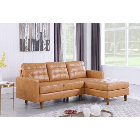 Corvus Oreanne Tufted Faux Leather L-shaped Sectional Sofa Set