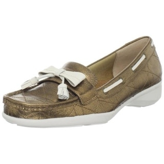 Trotters Womens Zoe Leather Metallic Loafers