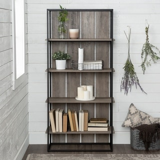 The Gray Barn Kujawa Slat Back Bookshelf - Black / Grey Wash