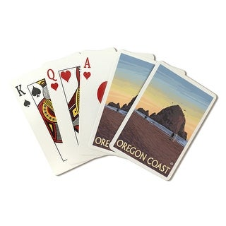 Cannon Beach, Oregon - Haystack Rock - Lantern Press Artwork (Playing Card Deck - 52 Card Poker Size with Jokers)