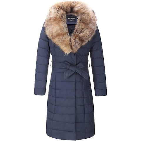 Bellivera Faux Leather Puffer Padding Long Jacket,Women Winter Bubble Coats with Detachable Faux Fur Collar Blue XX-Large