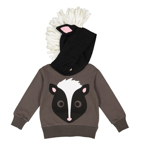 Doodle Pants Toddler Skunk Hoodie - Children's Kid's Hooded Sweatshirt -Charcoal