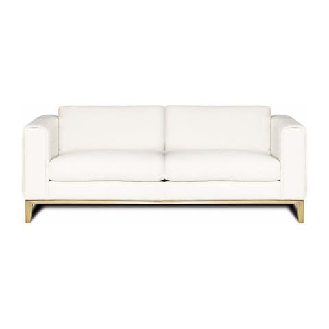 Tobi Top Grain Leather Modern 3-Seater Sofa, 96-inch Width, Gold Base