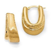 Italian 14k Gold Polished and Satin Diamond Cut Hinged Hoop Earrings