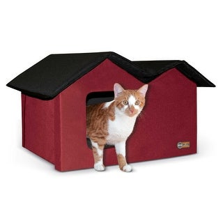 """K&H Pet Products Outdoor Kitty House Extra-Wide Unheated Red 21.5"""" x 14"""" x 13"""""""