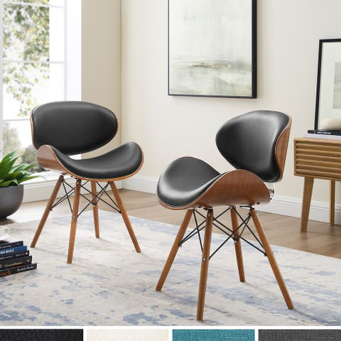 Corvus Madonna Mid-century Walnut and Black Finish Accent Side Chair