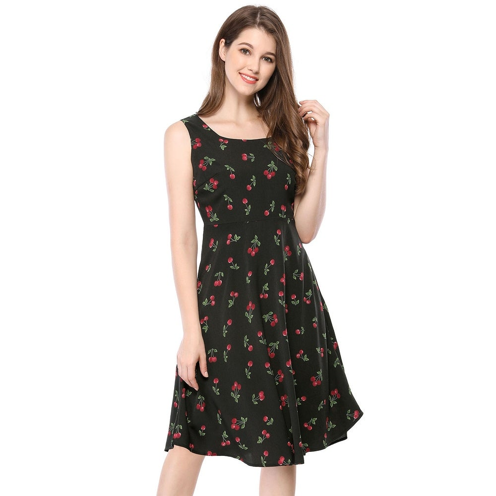Unique Bargains Women Sleeveless Cherry Print Midi Flare Vintage Dress by  Great Reviews