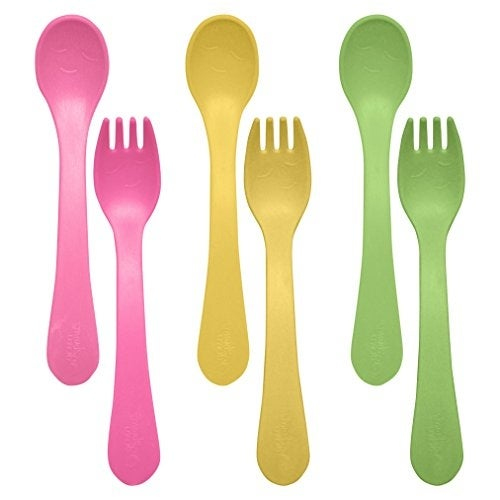 green sprouts Sprout Ware Fork and Spoon, Pink Assortment, 6 Count